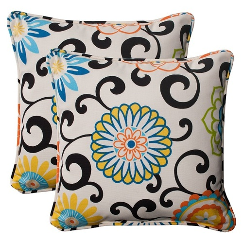 """Set of 2 Waverly Summer Flower Outdoor Square Corded Throw Pillows 18.5"""" - IMAGE 1"""