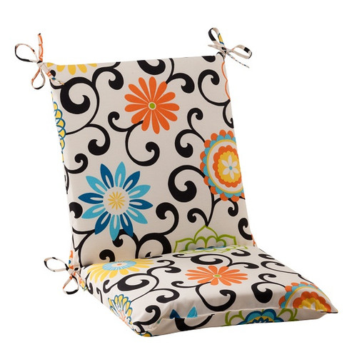 """36.5"""" Waverly Summer Flower Outdoor Patio Furniture Square Chair Cushion - IMAGE 1"""