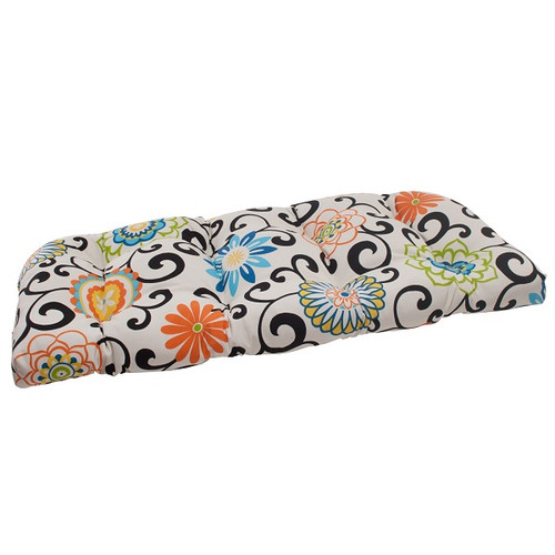 """44"""" White and Green Floral Outdoor Patio Tufted Loveseat Cushion - IMAGE 1"""