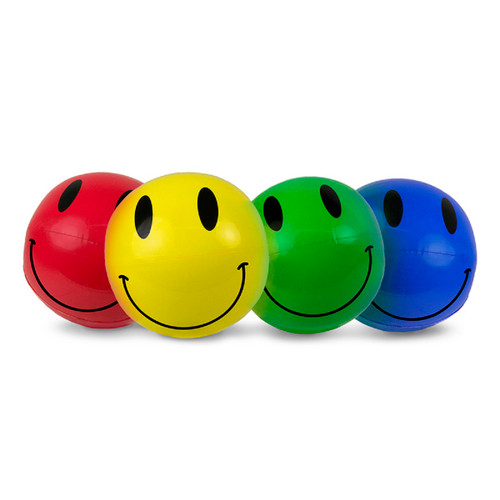 """Set of 4 Inflatable Smiley Play Beach Ball Swimming Pool Toys 16"""" - IMAGE 1"""