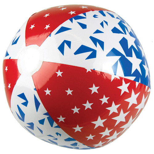 """24"""" Inflatable Red, White and Blue Patriotic 6-Panel Swimming Pool and Beach Ball - IMAGE 1"""