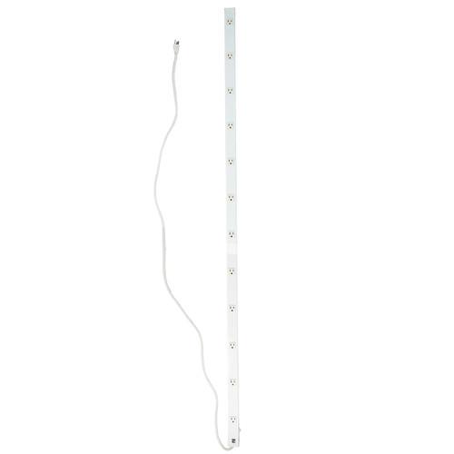 6' White 12-Outlet Mountable Power Strip Bar - IMAGE 1