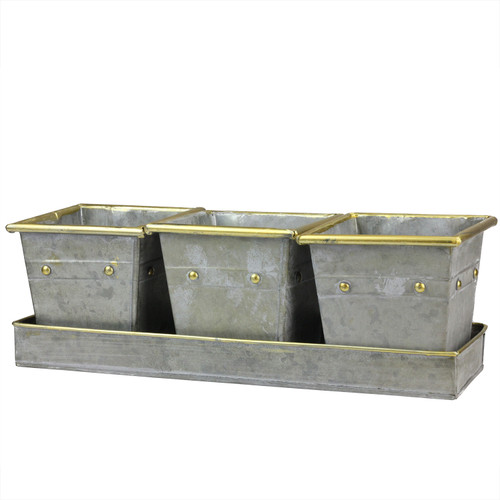 """Set of 3 Decorative Gray Square Pots with Gold Colored Accents in a Tray 15.5"""" - IMAGE 1"""