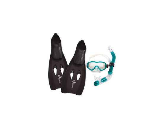 """9.5"""" Black and Teal Blue Aqua Reef Diver Teen/Young Adult Pro Scuba Extra Small Snorkeling - IMAGE 1"""