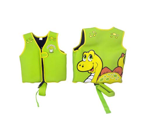 Green Intermediate Smiling Dinosaur Swim Vest  for Children Ages 1-3 - IMAGE 1