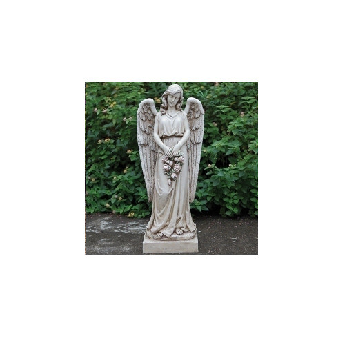 """36"""" Brown and Gray Joseph's Studio Angel Holding a Rose Wreath Religious Outdoor Garden Statue - IMAGE 1"""