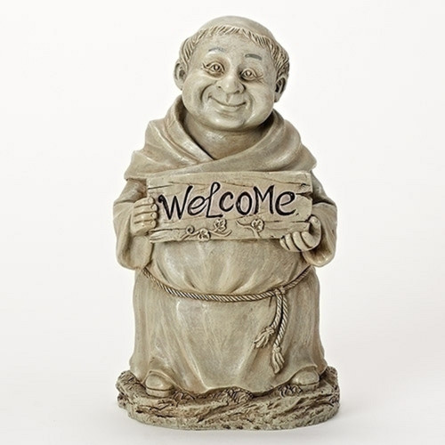 """12"""" Beige Monk Holding a """"Welcome"""" Sign Outdoor Garden Statue - IMAGE 1"""