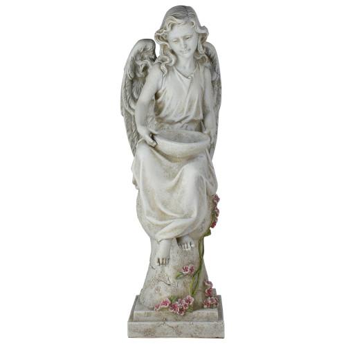 "21"" Joseph's Studio LED Solar Powered Angel on a Pedestal Outdoor Garden Statue - IMAGE 1"