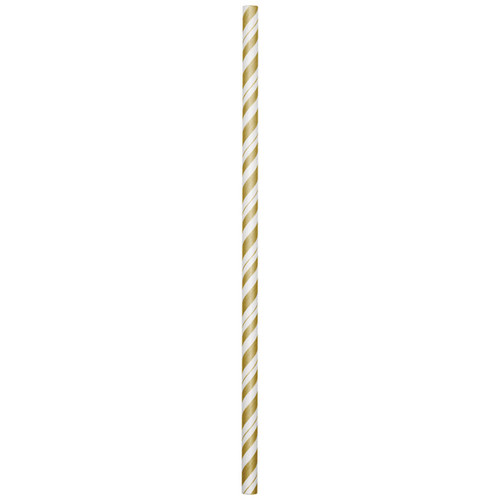 """Club Pack of 144 Gold and White Striped Drinking Straws 7.75"""" - IMAGE 1"""