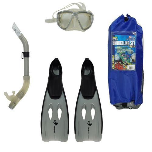 "22"" Gray Kona Adult Pro Silicone Swimming Pool Scuba or Snorkeling Set - Medium - IMAGE 1"