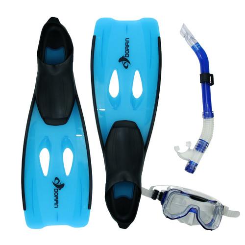 "3pc Blue and Black Adult Silicone Swimming Pool Snorkeling Set 22"" - Medium - IMAGE 1"