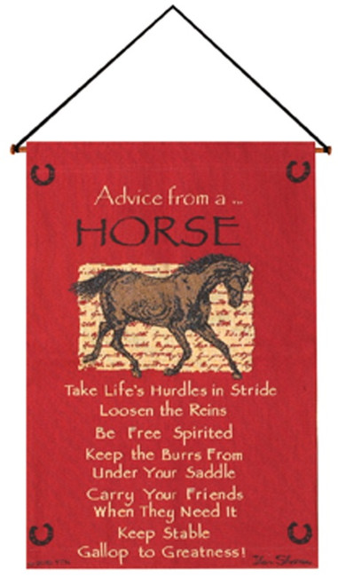 """Crimson Red and Brown """"Advice from a Horse"""" Wall Art Hanging Tapestry 26"""" x 17"""" - IMAGE 1"""