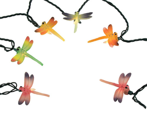 10-Count Multi-Color Dragonfly Patio Christmas Light Set, 7.4 ft Green Wire - IMAGE 1