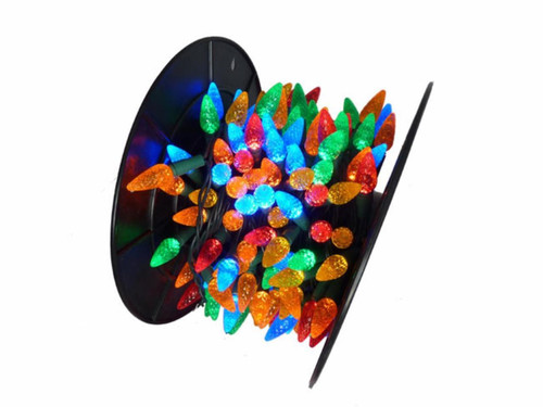 210 Multi-Color LED C6 Commercial Mini Christmas Lights - 56.5 ft Green Wire - IMAGE 1