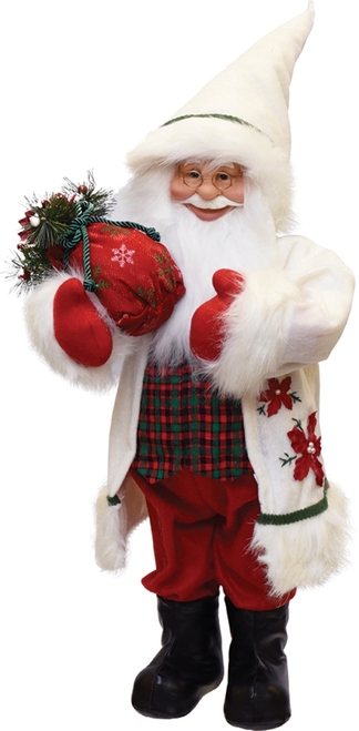 "25"" White and Red Santa with Sack of Pine Christmas Figurine - IMAGE 1"
