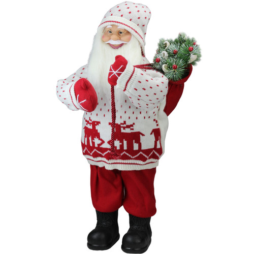 "25"" White and Red Santa in Knit Deer Sweater with Sack of Pine Figure Decoration - IMAGE 1"