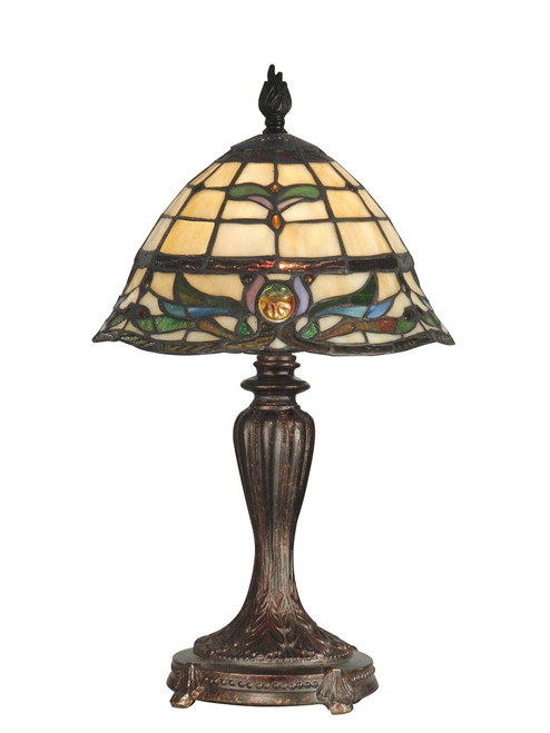 """18.5"""" Fieldstone Pendule Hand Crafted Glass Tiffany-Style Table Lamp - IMAGE 1"""
