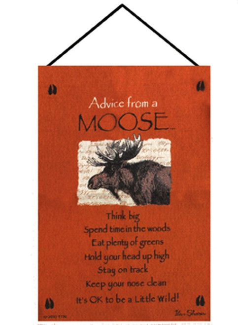 """Orange and Brown """"Advice from a Moose"""" Wall Art Hanging Tapestry 26"""" x 17"""" - IMAGE 1"""
