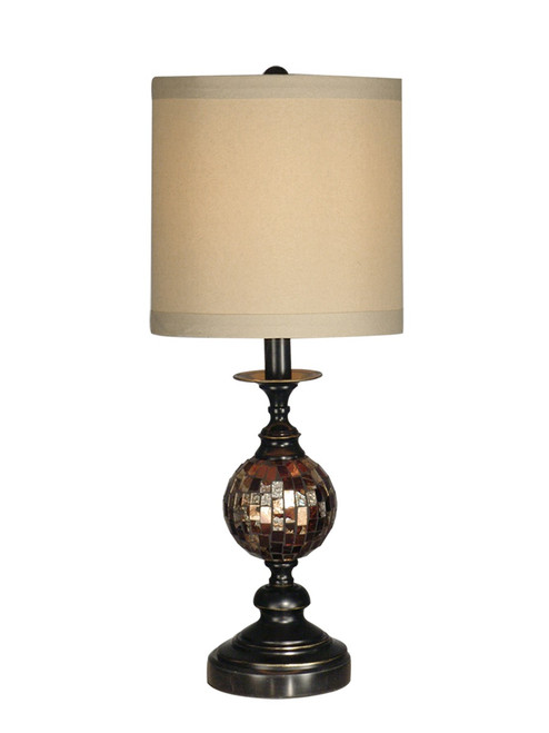 "22.5"" Dark Antique Bronze Mosaic Ball Glass Table Lamp with Cream Drum Shade - IMAGE 1"