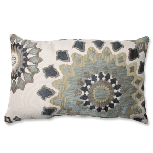 """18.5"""" Beige and Gray Floral Rectangular Throw Pillow - IMAGE 1"""