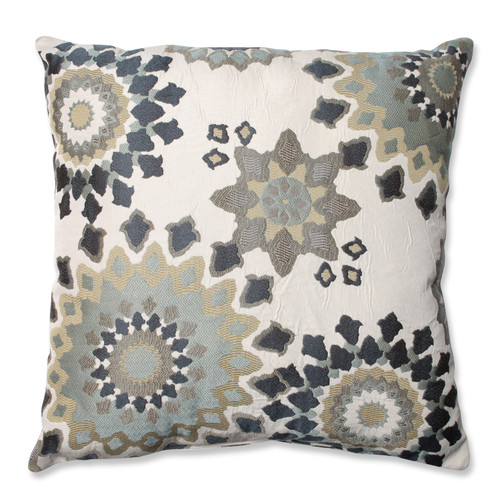 """23"""" Beige and Gray Floral Square Throw Pillow - IMAGE 1"""