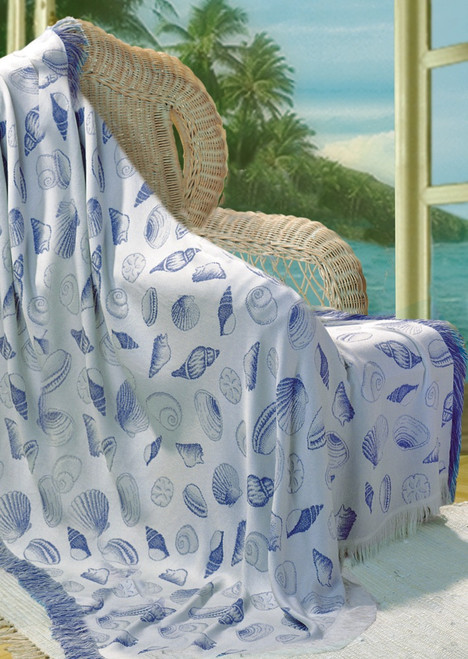 "White and Sky Blue Seashell Motif Fringed Throw Blanket 50"" x 60"" - IMAGE 1"