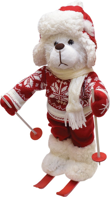 """15"""" Red and White Winter Boy Bear with Skis Christmas Figure Decoration - IMAGE 1"""