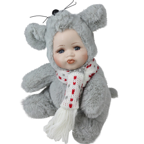 """6.75"""" Gray and White Pucker Up Baby in Mouse Costume Collectible Christmas Doll - IMAGE 1"""