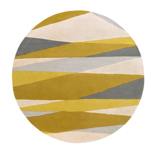 9' Pyramid Escape Gold Yellow and Slate Gray Carved Round Wool Area Throw Rug - IMAGE 1