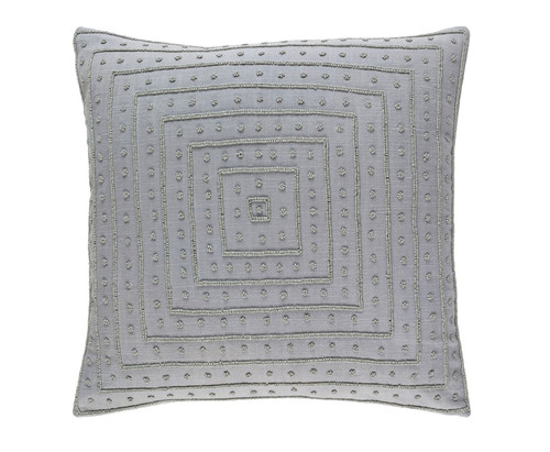 "22"" Taupe Gray Contemporary Woven Beaded Square Throw Pillow - IMAGE 1"