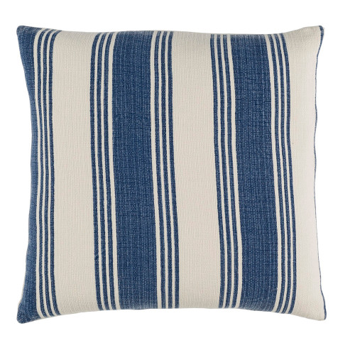"22"" Navy blue and Cream White Striped Square Throw Pillow - IMAGE 1"