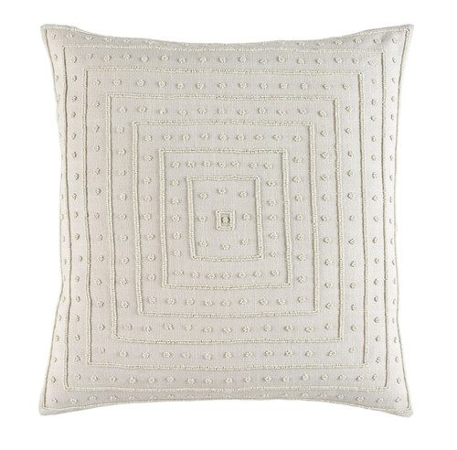 "22"" Biscuit White Contemporary Woven Beaded Square Throw Pillow - Down Filler - IMAGE 1"
