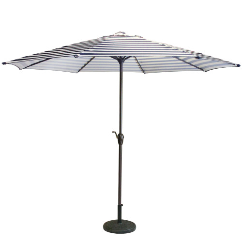 8' Outdoor Patio Market Umbrella with Hand Crank and Tilt, Blue and White Stripe - IMAGE 1