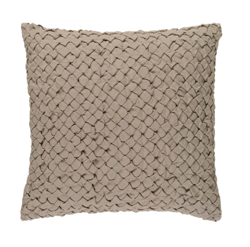 """18"""" Sand Brown Embroidered Square Throw Pillow - Down Filler - IMAGE 1"""