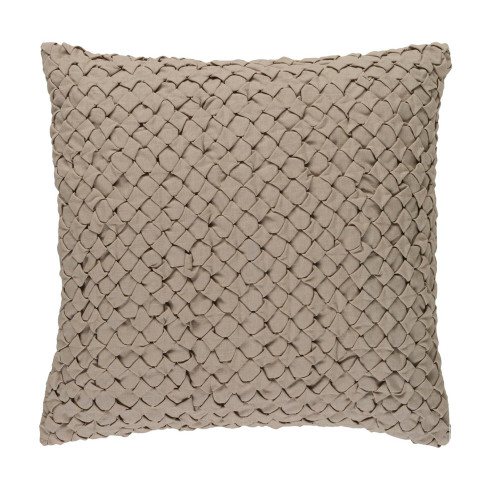"""18"""" Sand Brown Contemporary Angle Weave Square Throw Pillow - IMAGE 1"""