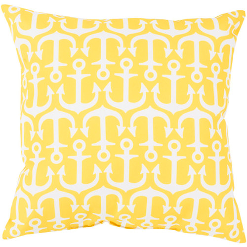 """18"""" Yellow and White Anchor Contemporary Outdoor Square Throw Pillow - IMAGE 1"""
