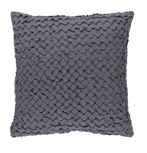 "20"" Dove Gray Angle Weave Square Throw Pillow - Down Filler - IMAGE 1"