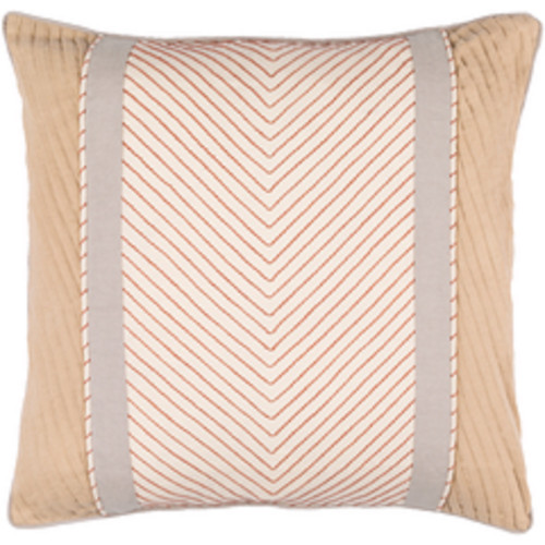 """22"""" Brown and Gray Embroidered Throw Pillow - Down Filler - IMAGE 1"""