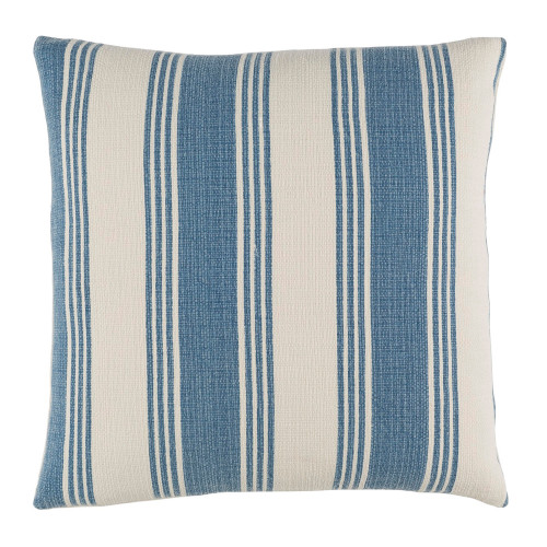 "22"" Blue and Flour White Striped Square Throw Pillow - IMAGE 1"