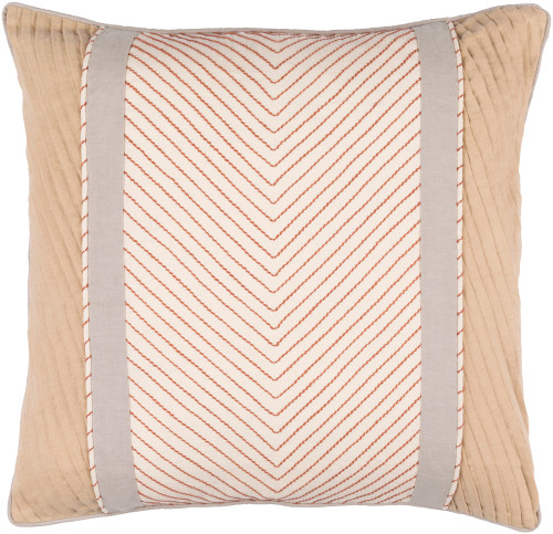 "22"" Brown and Gray Contemporary Embroidered Throw Pillow - IMAGE 1"