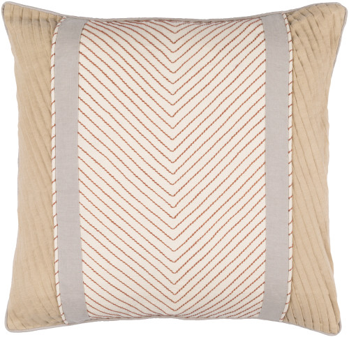 "20"" Brown and Gray Embroidered Throw Pillow - Down Filler - IMAGE 1"
