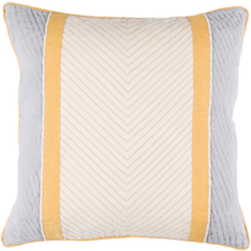 """22"""" Orange and Gray Contemporary Square Throw Pillow - Down Filler - IMAGE 1"""