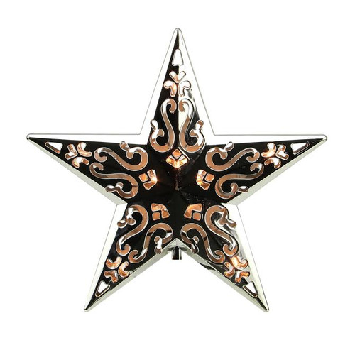 """8"""" Lighted Silver Cut-Out Design Decorative Star Christmas Tree Topper - Clear Lights - IMAGE 1"""