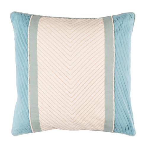 """18"""" Blue and Gray Contemporary Square Throw Pillow - Down Filler - IMAGE 1"""
