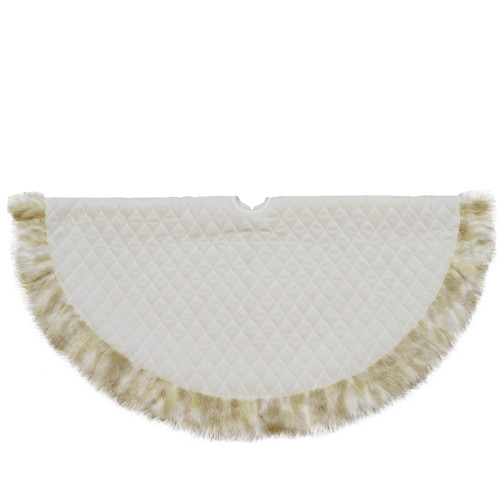 """48"""" Beige and Ivory Contemporary Christmas Tree Skirt - IMAGE 1"""