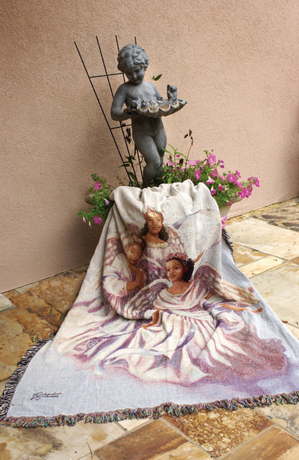 """Heavenly Angelic Trio Inspirational Tapestry Throw Blanket 50"""" x 60"""" - IMAGE 1"""
