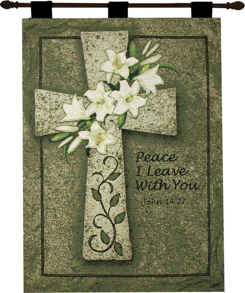 """Religious Bible Proverb """"Peace I Leave with You"""" Cotton Wall Art Hanging Tapestry 36"""" x 26"""" - IMAGE 1"""