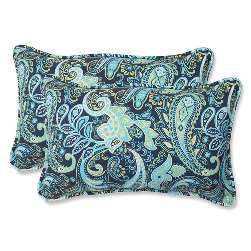 """Set of 2 Blue and Green Paisley Rectangular Outdoor Corded Throw Pillows 18.5"""" - IMAGE 1"""