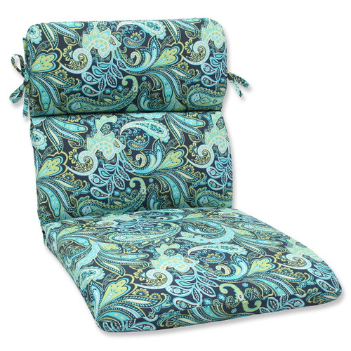 """40.5"""" Blue and Green Paisley Outdoor Patio Rounded Chair Cushion - IMAGE 1"""