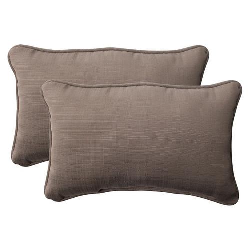 "Set of 2 Solarium Light Brown Outdoor Corded Rectangular Throw Pillows 18.5"" - IMAGE 1"